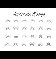 sunbursts set on white background vector image