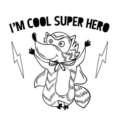 Superhero super cute raccoon in mask vector