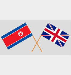 the crossed uk and north korea flags vector image