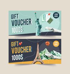 Tourism voucher design with statue liberty vector