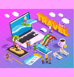 travel isometric composition vector image