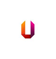 u ribbon letter logo icon design vector image