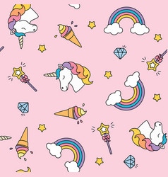 Unicorn rainbow and magic wand pastel colors vector