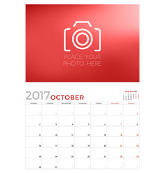 wall calendar planner template for october 2017 vector image