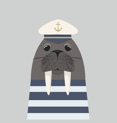 walrus captain with sailor vector image