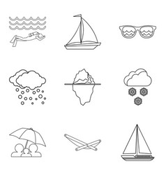 Waterbody icons set outline style vector