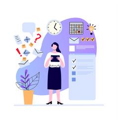 Woman make plan and set task week goals vector