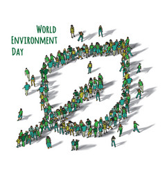 World environment day sign leaf people isolate vector