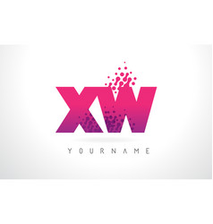 xw x w letter logo with pink purple color and vector image