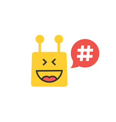 Yellow chatbot with hashtag in red speech bubble vector