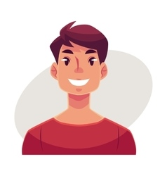 Young man face smiling facial expression vector
