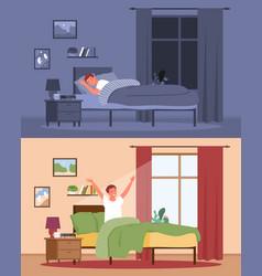 Young man sleeping awakening in home bedroom guy vector