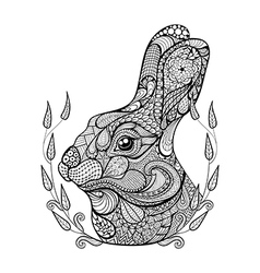 Zentangle stylized head of rabbit in wreath Hand vector image