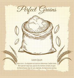 bag of wheat flour vintage poster vector image vector image