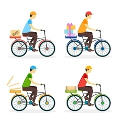 Delivery Boy on the Bike Set vector image vector image