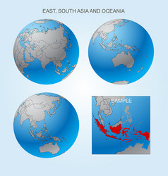 globe set with borders of countries vector image vector image