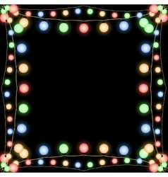 Glowing Christmas garlands frame black vector image