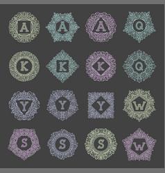 Monogram bage logo text letter vector