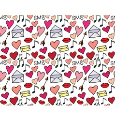 Seamless pattern of loving hearts vector image vector image