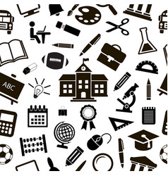 seamless school background with black icons vector image vector image