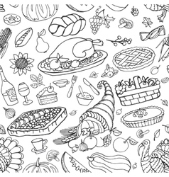 Thanksgiving day doodle icons seamless pattern vector image vector image