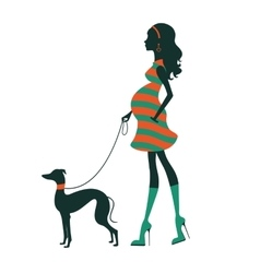 Beautiful woman silhouette with greyhound vector image vector image