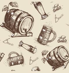 beer barrel seamless pattern oktoberfest festival vector image vector image
