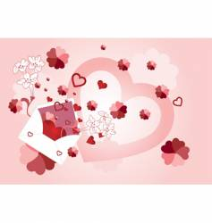 envelope with floral and heart vector image vector image