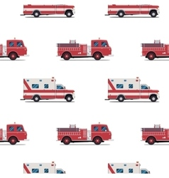 seamless pattern of the fire engine and ambulance vector image