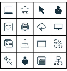 Set of 16 web icons includes mouse program vector