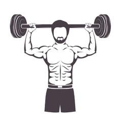 silhouette muscle man lifting a disc weights vector image vector image