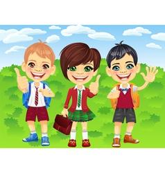 Smiling schoolchildren boys and girl vector image