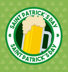 st patricks day beer glass foam cold drink banner vector image