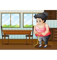 A sad fat woman vector image vector image
