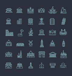 building icons set government landmarks vector image vector image