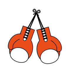 Color silhouette image set orange boxing gloves vector