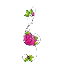Hand drawn beautiful Treble clef with rose vector image