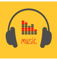 Headphones equalizer and red word Music Icon in vector image