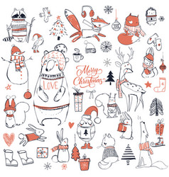 set with cute christmas animals vector image vector image