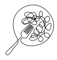 spaghetti meal one line drawing design vector image