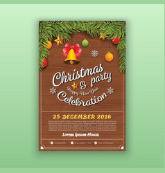 Christmas Party Decoration With Wooden Board vector image vector image