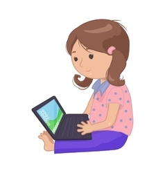 Computer laptop girl vector