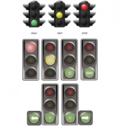 few sets of traffic lights vector image vector image