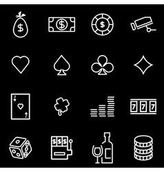 line casino icon set vector image