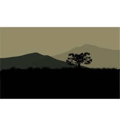 Silhouette of huge mountain vector image
