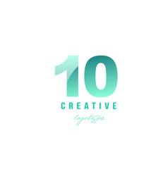 10 ten green pastel gradient number numeral digit vector