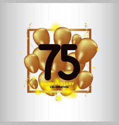 75 year anniversary black gold balloon template vector