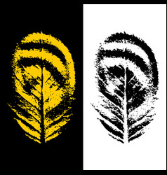 abstract leaves logo in black and yellow colors vector image