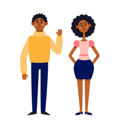 Afro american man and woman template - couple vector