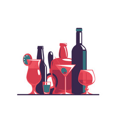 alcoholic and non-alcoholic drinks set vector image